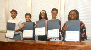 Chamber Ambassadors (l-r) Marshall Howard, Jaila Effinger, KaSandra Smith, Madison Bitten, JaKeela Davis (not shown) Jada George